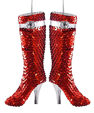 Sexy Sequin High Heel Boot Hanging Christmas Ornament - Set of 2 - Santa Christmas Ornament Shoes