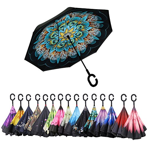 Aweoods Double Layer Inverted Umbrella Cars Reversible Umbrella (Peacock Ling) (Umbrella Down)