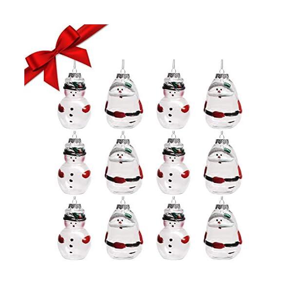 Palle di Natale Plastica (Set da 12)- Palline di Natale Trasparenti Forma Babbo Natale e Pupazzo Neve, 4 Cadauno per Decorazioni Natalizie, Addobbi per Feste di Compleanno, Addobbi Natalizi per Albero 1 spesavip