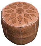 Moroccan Poof 100% Leather Handmade & Hand Carved Traditional Footstool Pouf Tribal Berber Ottoman Unique design Review