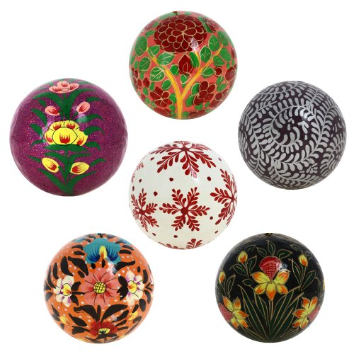 Paper Mache Ornament - Christmas Tree Hanging Ornaments Handmade Paper Mache Ball 3 Inch Set of 6