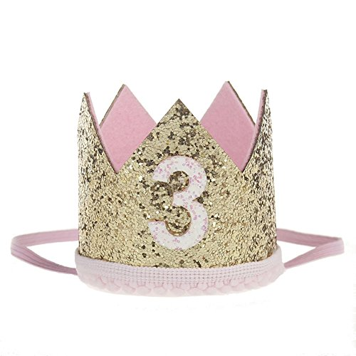 ACTLATI Charm Baby 3rd Birthday Party Headwear Elastic Glitter Crown Hair Band Bling Headband