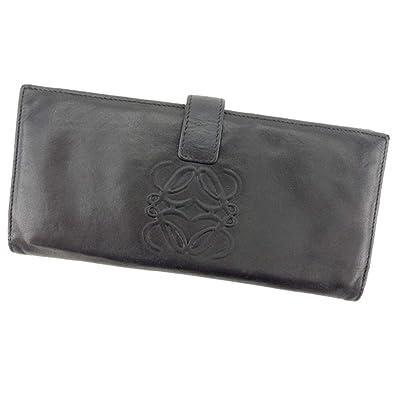 3fcd2ad0f43a (ロエベ) Loewe 長財布 ファスナー付き 財布 ブラック シルバー アナグラム レディース メンズ 中古 L2477