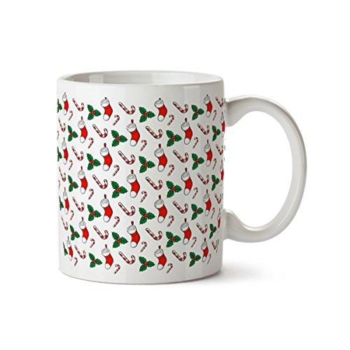 Socks and Candy Funny Design Porcelain Coffee Mug -11 oz- Happy Holidays Gift ()