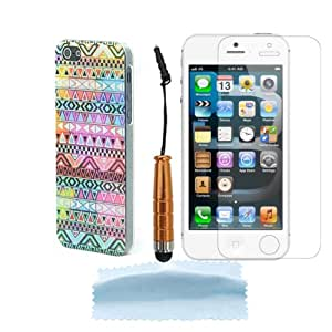 Colorful Tribal Stripes Hybrid Hard Shell Plastic Back Case Cover Skin For Apple iPhone 5 5G 5S + Free Screen Protector&Touch Pen Stylus