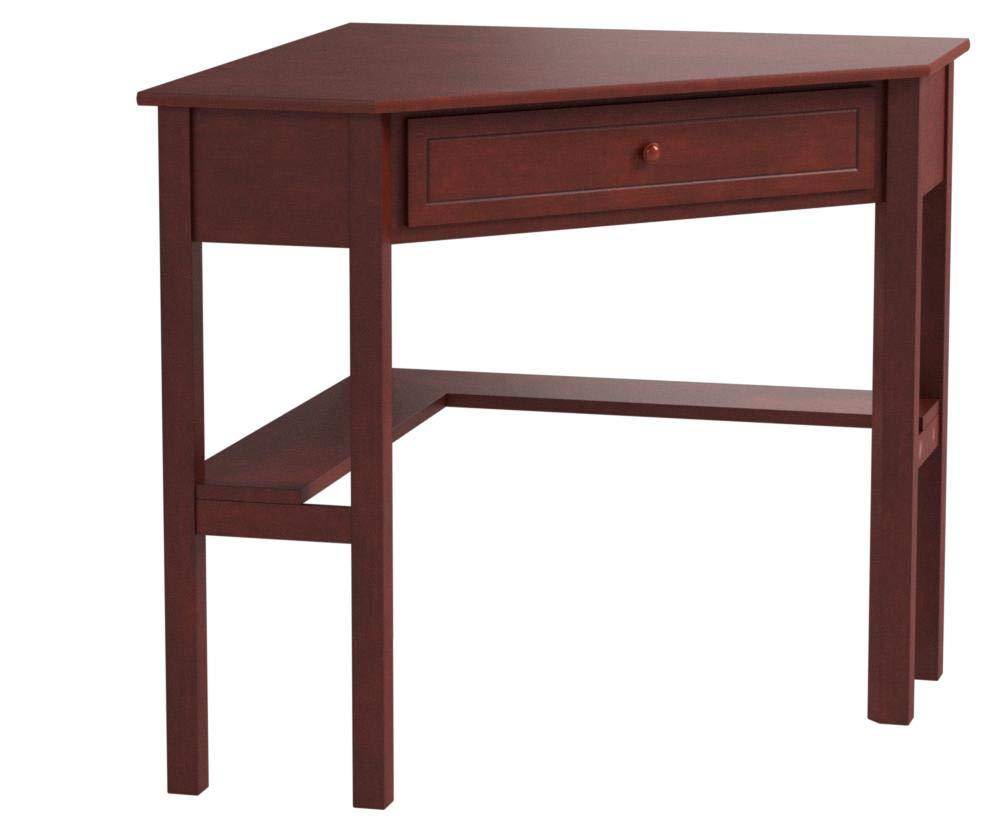 Target Marketing Systems Wood Corner Desk One Drawer One Storage Shelf, Cherry Finish