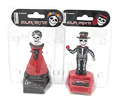 Solar Powered Dancing Skeleton Groom and Bride for Halloween or Over the Hill (Red)