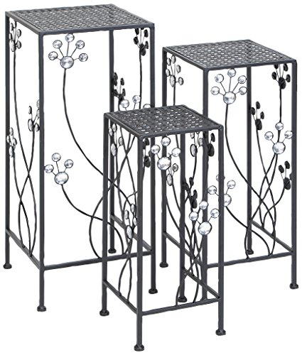 Deco 79 63344 3-Piece Metal Outdoor Plant Stand Set, Square by Deco 79 (Image #1)