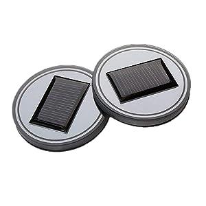 Pack of 2, Onerbuy Solar LED Car Cup Holder Mat Pad Waterproof Bottle Drinks Coaster Built-in Light and Vibration Sensor Car Interior Decoration Light Lamp (Blue)