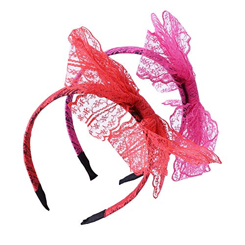 LEKUSHA Women's 80s Costume Accessories Neon Lace Headband Hair Band with Bow, Set of 2]()