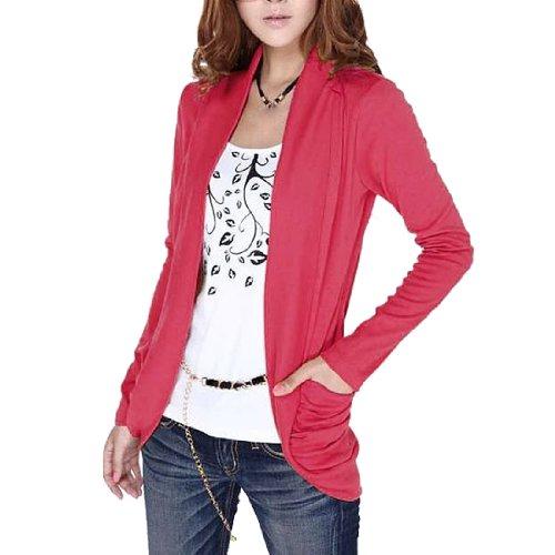 Damen Abgeschnitten Ärmel Pullover Dehnbar Hemd - Wassermelone-Rot, Damen, XS (32)
