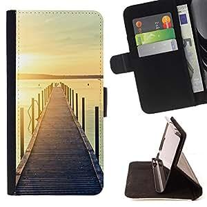 DOCK BEACH SUNSET PIER JETTY LAKE/ Personalizada del estilo del dise???¡Ào de la PU Caso de encargo del cuero del tir????n del soporte d - Cao - For Samsung Galaxy S6 EDGE