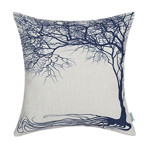 CaliTime Canvas Throw Pillow Cover Case for Couch Sofa Home Decoration Vintage Big Old Tree 18 X 18 inches Navy Blue