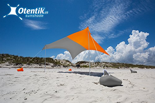 Otentik Beach SunShade - With Sandbag Anchors - The Original Sunshade since 2011 (Two-tone, Orange-Grey, Large 8.5 x 9 ft and 7 ft Tall - up to 7 people)