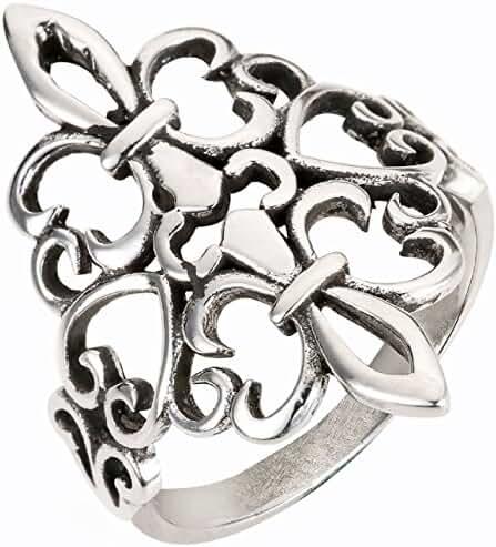 Sterling Silver Noble Fleur De Lis Ring (Sizes 4-15)