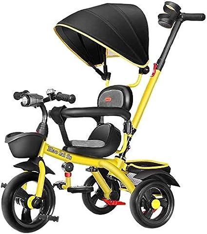 GPWDSN Niños Triciclo con Mango, Bicicletas 1/5 Años De Edad Cochecito De Bicicletas Hombres Y Mujeres Joven De La Carretilla (Color: Azul)
