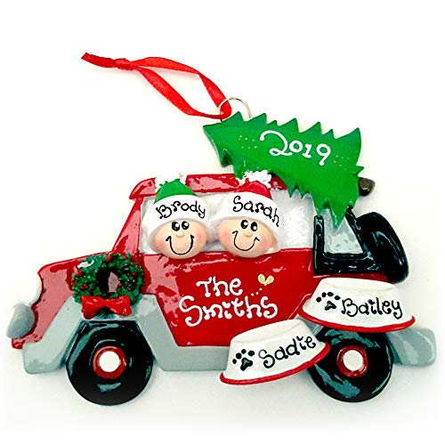 Red Car Couple Family of 2 with 2 Dogs Personalized Christmas Ornament (Personalized Christmas Ornaments Couple With 2 Dogs)