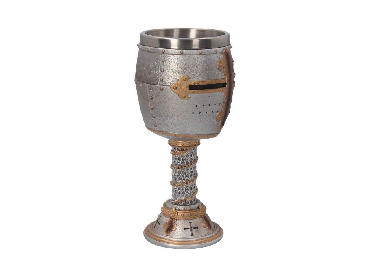 Copa de Vino 18 cm, Resina, Inserto de Acero Inoxidable Nemesis Now Crusader Color Plateado