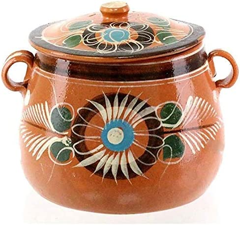 clay pot cooking beans Mexican Handmade Cooking Pot Made of Clay Terra Cotta Pot Traditional  Designs (Assorted Designs) (Cooking Pot)
