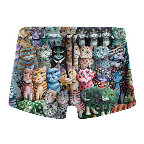Psychedelic Funny Cute Cat Kitten Mens Swimsuit Quick Dry Boxer Brief Swimming Shorts Trunks Swimwear Black]()