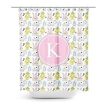 [ K - INITIAL ] Name Monogram Polyester Fabric Bathroom Decor Shower Curtain Set with Hooks [ Robot Rabbit Alien ]