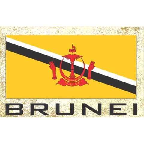 Flag Fridge Refrigerator Magnets - Asia & Africa Grp 1 (1-Pack, Country: Brunei)