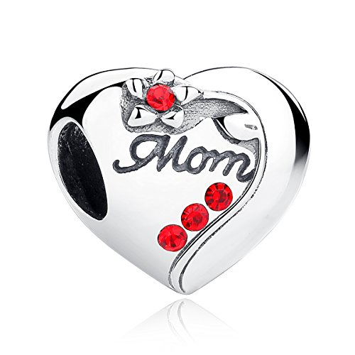 Rhodium Mom Heart Charm - BISAER Sterling Silver Mom Charms Beads,I love You Family Heart Charms Mom Filled Red Birthstone,Birthday Gift for her Fits Round Bangle Bracelet and European Bracelet