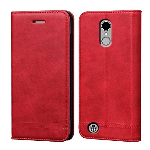 LG K10 ( MS425 2018 Release ) Case, Luckiefind Premium PU Leather Flip Wallet Credit Card Cover Case, Stylus Pen, Screen Protector Accessories (Red) ()