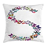 Ambesonne Letter S Throw Pillow Cushion Cover, Capital Letter S Consisting of Various Colored Shaped Butterflies Exotic Animals, Decorative Square Accent Pillow Case, 20 X 20 Inches, Multicolor