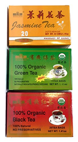 Water Spring Royal - Chinese Tea Sampler Set- 100% Organic Green Tea, Jasmine Tea and 100% Organic Black Tea (3 boxes of 20 teabags; 60 teabags total)
