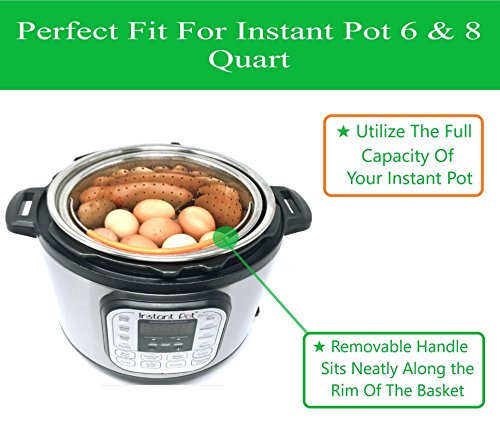 Steamer Basket Accessories For Instant Pot 6 & 8 quart - Sturdy Stainless Steel IP InstaPot Insert And Stainer - Silicone Handle And Feet For Stability, Protection And Convenience - Easy To Clean by Unique Impression (Image #2)