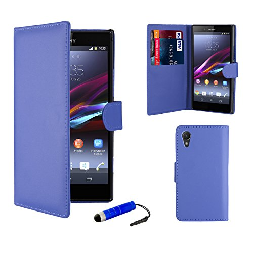 32nd Book wallet PU leather case cover for Sony Xperia Z1 (L39h) + screen protector, cleaning cloth and touch stylus - Deep Blue