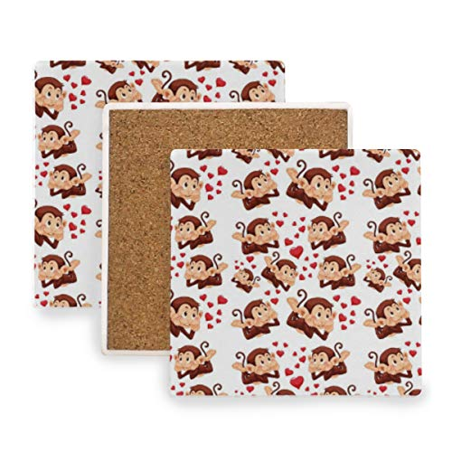 Cute Monkey Seamless Pattern Coasters For Drinks Coasters Mats Coasters Set Place Mats Cup Mat Pad - Set of 4
