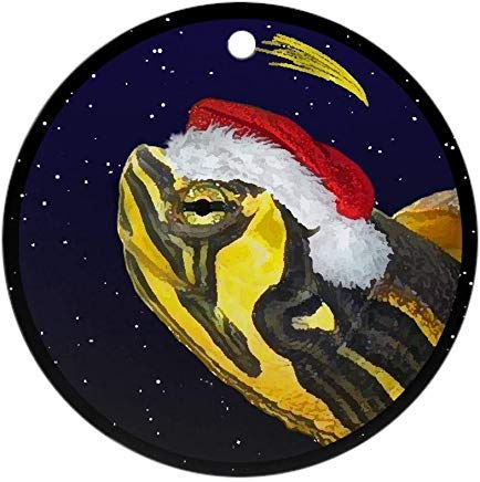Yellow Pendant Sliders - Voicpobo Christmas Night Yellow Bellied Slider Ornament Novelty Round Ceramic Christmas Ornaments Christmas Tree Decorative 3 inches