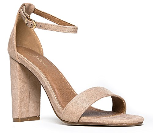 1/2 Inch Block Heel - Strappy Chunky Block High Heel - Formal, Wedding, Party Simple Classic Pump - Shirley by J.Adams, Light Taupe Suede, 7.5 B(M) US