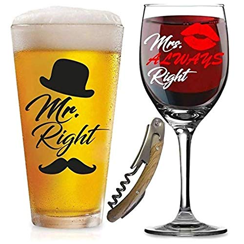 Mr. Right and Mrs. Always Right Glasses -with FREE Bottle Opener - Funny Wedding Gifts - For Engagement, Couples, Anniversary, Birthday, Newlyweds, Novelty and Bridal Shower - with Prestigious -