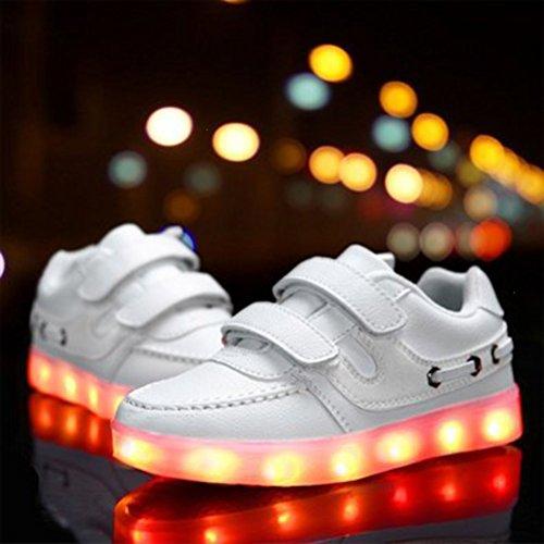 Weiß Luminous PU Turnschuhe Farben Kleinkind Mädchen Present Sport Kleinkind 7 beiläufige Leder Jungen Studententanzs kleines Schuh LED Handtuch JUNGLEST® leuchten wOH7f