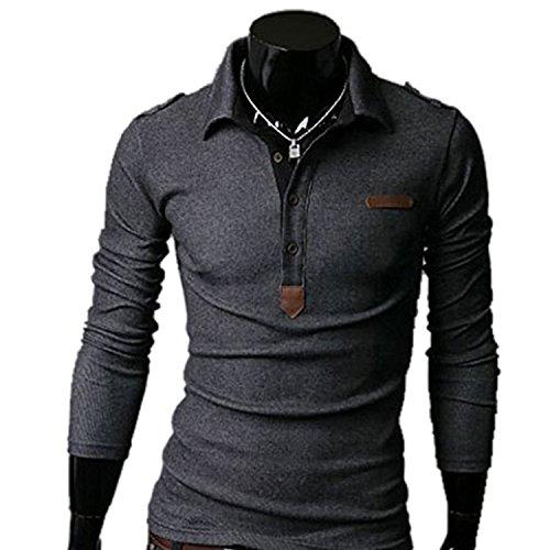 AMBLY ポロシャツ メンズ Tシャツ カットソー 長袖 ロンT エポレット ゴルフウェア トップス カジュアル コーデ 黒 グレー ホワイト 春 夏 秋 メンズファッション