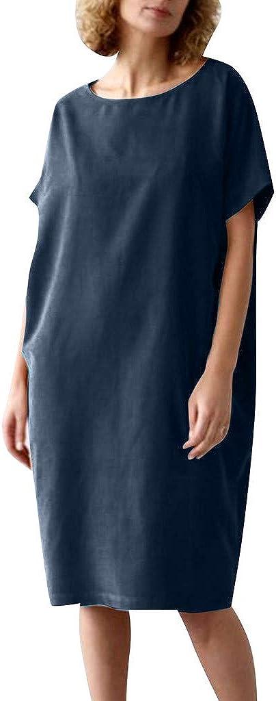 Drfoytg Womens O Neck Slim fit Short-Sleeve Crew Neck Dress Loose Solid Cotton and Linen Dress Navy
