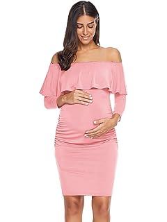 14af2e170926a Jezero Women's Ruffle Off Shoulder Sleeveless & 3/4 Sleeve Maternity Dress  Ruched Sides Knee