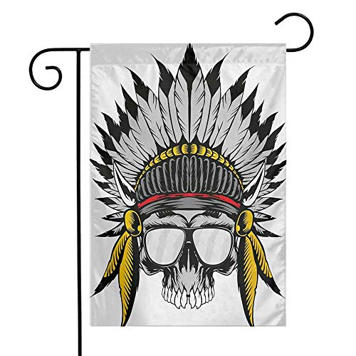 (Mannwarehouse Skull Garden Flag Dead Ancient Native American Tribe Leader Feather Head Crown with Glasses Decorative Flags for Garden Yard Lawn W12 x L18 Grey Yellow and Red)