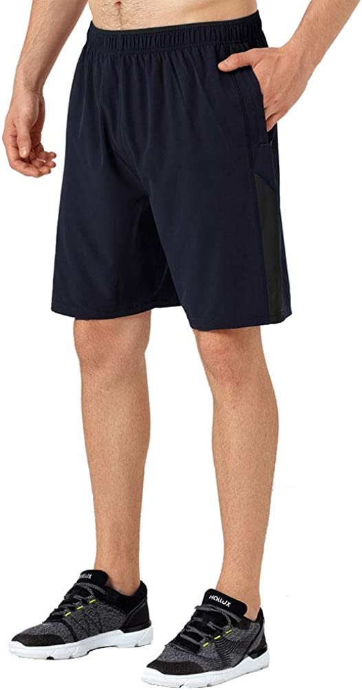 Tesuwel Men's Workout Running Shorts Quick Dry Athletic Sports Gym Shorts with Zip Pockets
