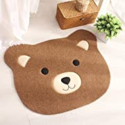 Ustide Polyester Doorway Rug Childrens Cartoon Rug Cute Bear Big Face Bath Mat TPR Non-Skid Floor Rug for Living Room/Bedroom Coffee