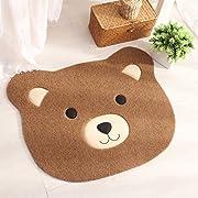 Ustide Polyester Doorway Rug Childrens Cartoon Rug Cute Bear Big Face Bath Mat TPR Non-Skid Floor Rug for Living Room/Bedroom Coffee