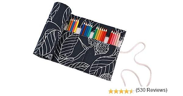 abaría - Estuche Enrollable para 36 lápices Colores, portalápices de Lona - Hoja Negro (no Tiene lápices): Amazon.es: Hogar