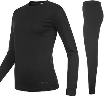 728e793164e8 Campri Womens Sports Base Layer Thermal Underwear Top & Pant Set Black (8  xSmall)