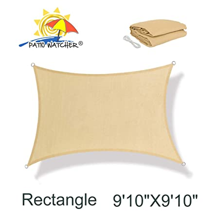 Patio Watcher 9 10 x 9 10 Square Sun Sail Shade UV Block Perfect for Outdoor Patio Garden Sand