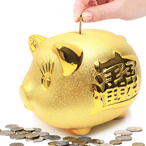 (Gold Piggy Bank ~ 招財進寶 We Wish You Wealth and Success Saving Box Piggy Bank Coin Bank For Home Decor, Holiday and Birthday Gift ~ Mose)