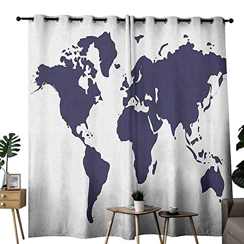 - duommhome Map Polyester Curtain Indigo Colored Graphic Map of The World Vivid Display International Global Theme Set of Two Panels W72 x L108 Indigo White