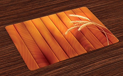 Ambesonne Harvest Place Mats Set of 4, Wheat Spikes on Wooden Planks Life in The Countryside Themed Agriculture Print, Washable Fabric Placemats for Dining Table, Standard Size, Orange Yellow